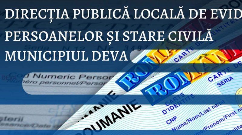 Programul de lucru cu publicul al Serviciului Evidența Persoanelor Deva în perioada 19-21 iunie 2021