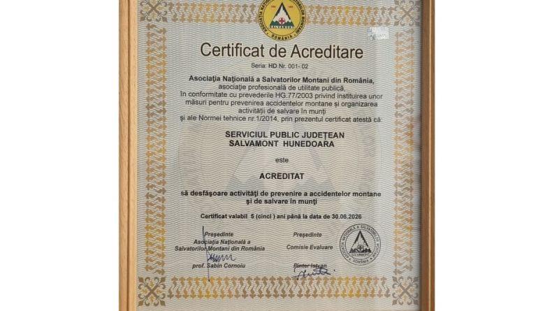 Serviciul Salvamont Hunedoara a fost reacreditat