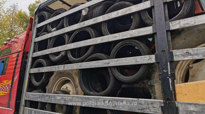 Deșeuri constând în cauciucuri uzate, oprite la intrarea în România